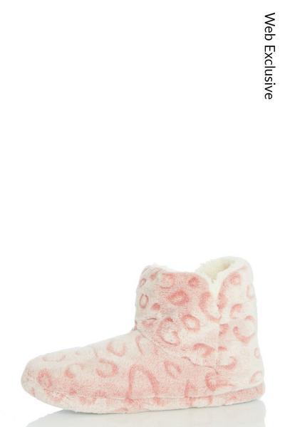 Pink Leopard Print Slipper Boot